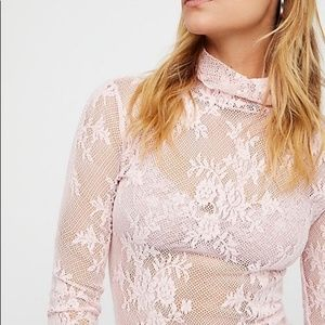 Free People Intimately Floral Lace Turtleneck Top